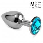 Анальная пробка металл, голубой кристалл M Silver
