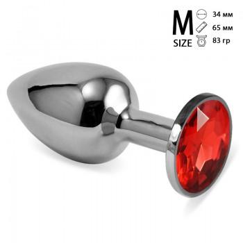 Анальная пробка металл, красный кристалл M Silver