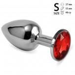 Анальная пробка металл, красный кристалл S Silver
