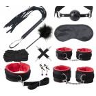 БДСМ набор из 10 предметов чёрно-красный bdsm