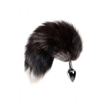 Анальная втулка с хвостом черно-бурой лисы, металл, серебристый, 45 см, Ø 3,3 см