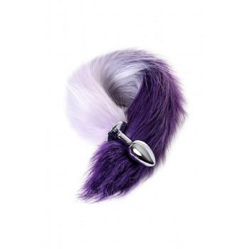 Анальная втулка с бело-фиолетовым хвостом, металл, серебристый, 45 см, Ø 2,7 см