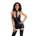 Платье с чокером Glossy Ivy из материала Wetlook, черное, M