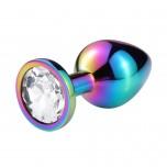Анальная пробка металл, белый кристалл S, HAMELION