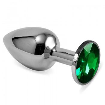 Анальная пробка металл, зеленый кристалл S, Silver