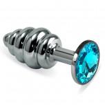 Анальная пробка рельеф, металл, голубой кристалл S, Silver