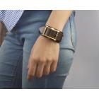 Кожаный браслет с квадратной пряжкой