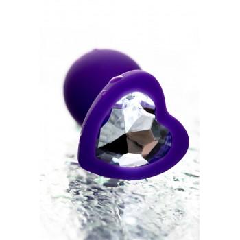 Анальная втулка Diamond Heart силикон, фиолетовая, 7 см, Ø 2 см