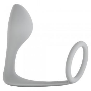 Мужской анальный стимулятор с кольцом на пенис Grey