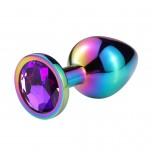Анальная пробка металл, фиолетовый кристалл M, HAMELION
