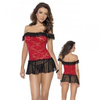 Mini Dress & String L/Red