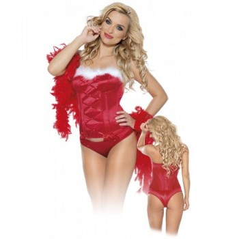 Christmas Bustier & Thong M/Red