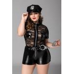 Костюм полицейской Candy Girl Porsche (комбинезон, головной убор, наручники) черный, 2XL